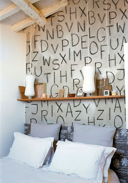 Буквы и надписи на стенах в интерьере: идеи