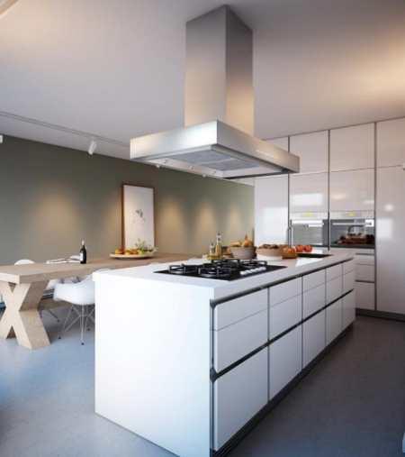 Графический минимализм в интерьере островной кухни столовой