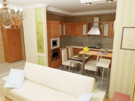 Перенос кухни в жилую комнату – возможности и ограничения