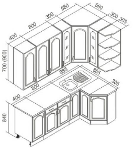 Размеры фасадов для кухни: примеры расчета