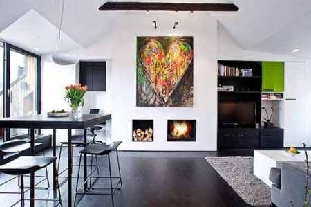 Шведский стиль с элементами поп-арта: дизайн мансардной кухни-студии в Стокгольме